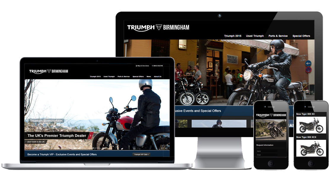 web design fro triumph motorcycle dealers